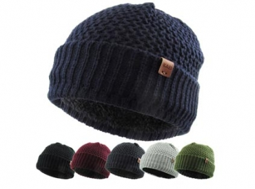 SOLID SHERPA LINED BEANIE