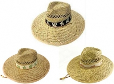 STRAW GOLF HAT W/BAND-ASST